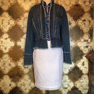Ann Taylor White Eyelet Pencil Skirt size 4
